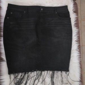 Torrid Black Denim Tassle pencil skirt